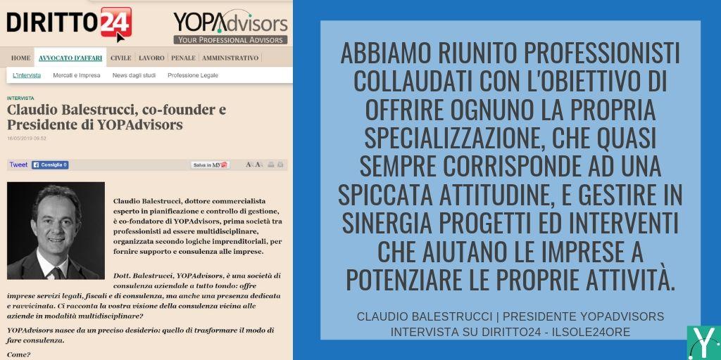 L'intervista del Presidente di YOPAdvisors, Claudio Balestrucci