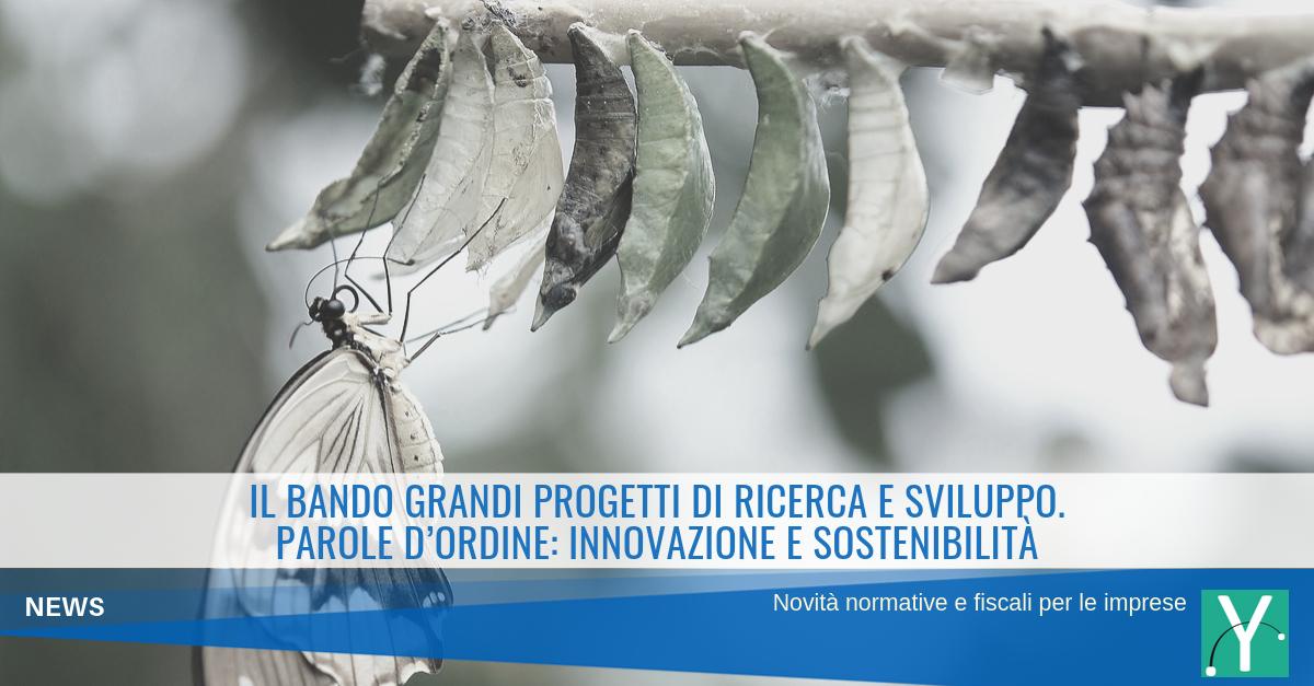 Il Bando Grandi Progetti di Ricerca e Sviluppo: innovazione e sostenibilità sono le parole d'ordine